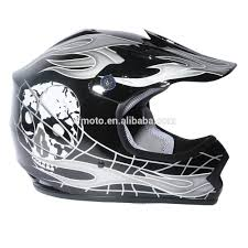motocross helmet and goggles youth black silver skull for dirt bike for atv motocross helmet