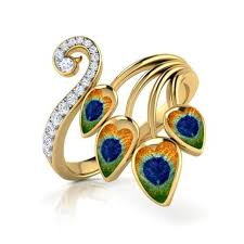 peacock design earrings in gold finesse peacock ring jewellery india online caratlane