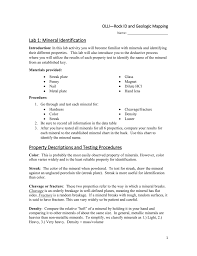 Mohs Hardness Scale Worksheet Lab 1 Mineral Identification Property Descriptions And Testing