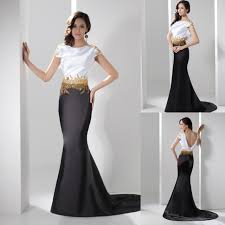 mermaid white black satin evening gowns with gold beads low back