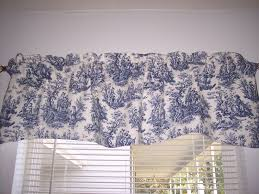 French Country Curtains Waverly by Navy Delft Blue White Waverly Rustic Toile Scalloped Lined Valance