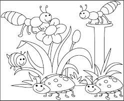 insects pleased with spring day coloring pages for kids d7s