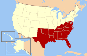 map us south southern united states
