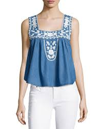lovers friends dream catcher embroidered top in blue lyst