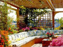 amazing design of rooftop garden ideas with eclectic sofa and hue