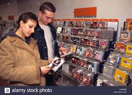shopping for cd s in an italian store stock