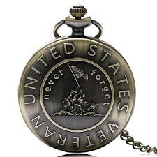 vintage necklace pocket watch images Steampunk bronze quartz pocket watch never forget u s veteran jpg