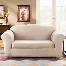 Wingback Sofa Slipcovers by Sure Fit Slipcovers Form Fit Stretch Suede 2 Piece Sofa Slipcover