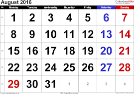 calendar august 2016 uk bank holidays excel pdf word templates