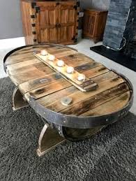 whiskey barrel side table large coffee table rustic coffee table solid oak table unique