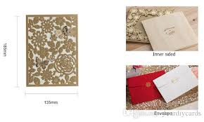 gold copper color wedding cards pocket invitaitons laser cut
