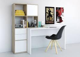 destockage bureau bureau contemporain avec rangement coloris chêne blanc angie