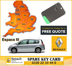 renault espace 2013 replacement remote key card for renault grand espace