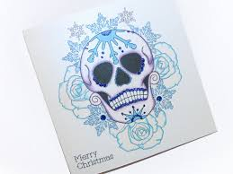 handmade christmas card frosted blue rose sugar skull