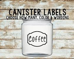 kitchen canister labels canister decal etsy