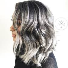white hair with black lowlights 40 ideas of gray and silver highlights on brown hair