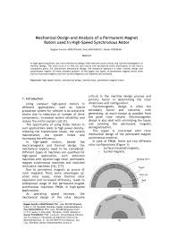 mechanical design and analysis of a permanent magnet rotors used