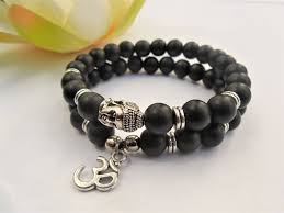 black beaded charm bracelet images Buy free ship om buddha bracelets set men yoga jpg