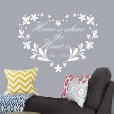aliexpress com buy home is where heart is home decor creative aliexpress com buy home is where heart is home decor creative quote wall decals flower heart removable vinyl wall stickers wallpaper wall art from