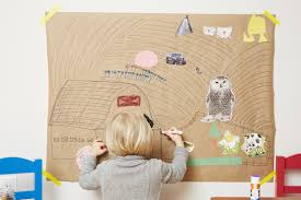 think really big make a farm mural with your littlest artist farm mural and experiment with drawing them near the top and bottom of the picture what happens when your child draws a large tractor at the bottom of