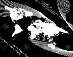 Black And White World Map A Black And White World Map Montage With Binary Code Works