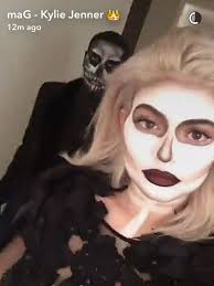 kylie jenner and boyfriend tyga dress up as striking skeletons for