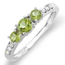 peridot engagement ring 10k white gold green peridot white three