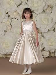 sleeveless satin tea length a line dress with jewel neckline