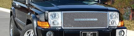 jeep commander black headlights 2007 jeep commander custom grilles billet mesh led chrome black