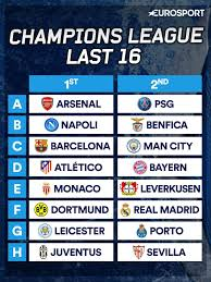 champions league last 16 draw 2016 when is it who can play who