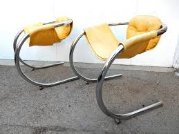 mod chrome tube cantilever sling chairs by byron botker for landes