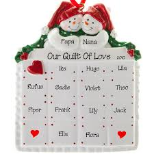 13 names snow on quilt ornament personalized ornaments
