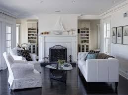 modern wood floor silver lamp dark hardwood floors black white