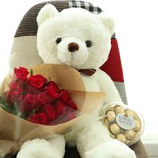 teddy delivery big bouquet ferroro rocher flower delivery south