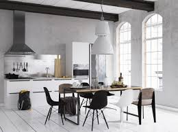 monochrome dining room designs which applied with dazzle black and