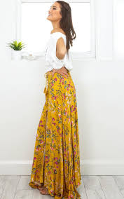 flourish maxi skirt in yellow floral showpo