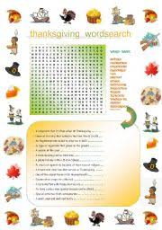 thanksgiving word search definition exercise including the