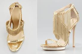 wedding shoes gold fringe strappy wedding shoes