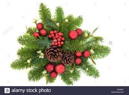 Mistletoe Decoration Decorative Christmas Display With Holly Ivy Mistletoe Fir Red