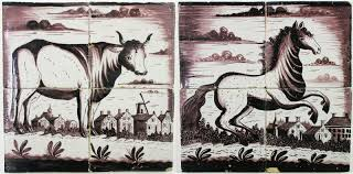 Horse Murals by Two Antique Dutch Tile Murals With Horse And Cow 19th Century