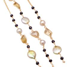 buy rosary buy pearl and multi silver chain of 1m pearl and multi