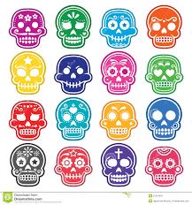 halloween background sugar skulls mexican sugar skull dia de los muertos icons set stock vector