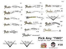 fender guitar waterslide decal logo headstock restoration pick