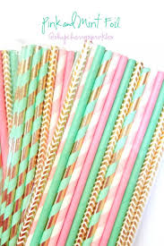 pink and mint party supplies mint straws pink straws gold foil