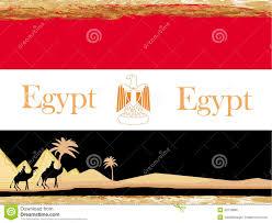 Flag Egypt Camel Caravan In Wild Africa Flag Of Egypt Abstract Card Vector