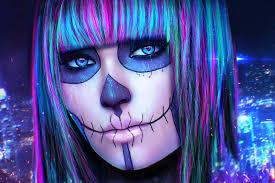 look synesthesia art cyberpunk face makeup skull eyes living