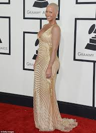 grammys 2014 amber rose u0027s tattoo sleeves vanish beneath thick