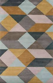 modern geometric yellow gray wool area rug mossy ames novica
