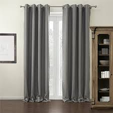 iyuegou modern grey solid grommet top blackout curtains draperies