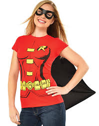 spirit halloween batman shirt amazon com dc comics women u0027s robin t shirt with cape and eye mask